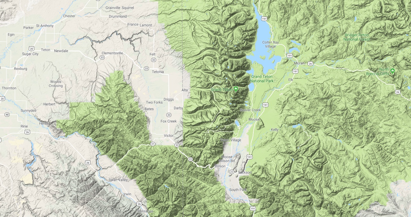 A map of Teton Valley and Jackson Hole